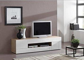 Meuble Tv Moderne En Bois Blanc Brillant 160 Cm Amazon Fr High Tech
