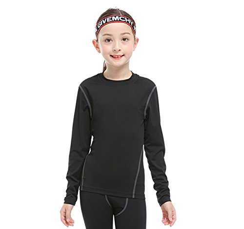 Youth T-shirt Black Practice (TOURME Girls Boys Compression Soccer T-Shirt Long Sleeve Kids Sun Shirts)