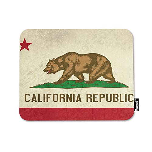 Mugod Flag Mousepad Bear Grunge California Republic State Flag of America Isolated on White Background Print Anti-Slip Natural Rubber Gaming Mouse Pad Rectangle Mouse Pads 7.9x9.5 ()