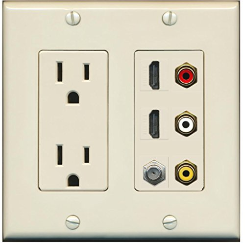 RiteAV - 2 x 15 Amp 125V Power Outlet 3 x RCA - 2 X HDMI and 1 x Coax Cable TV Port Wall Plate Light - Insert Almond Female Rca