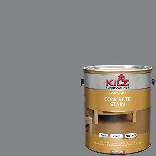 - KILZ 13513401 L397111 Interior/Exterior Solid Color Concrete Stain, 1 Gallon, Slate Gray