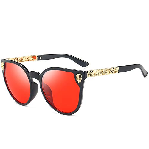 Dollger Oversized Skull Design Women Cat Eye Sunglasses UV400 Protection Red Lens