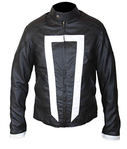 F&H Men's Gabriel Luna Ghost Rider Genuine Leather Jacket M Black