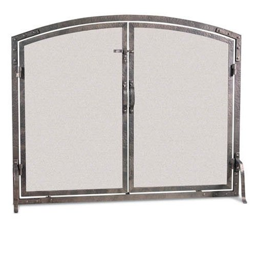 Pilgrim Old World Full Hand Forged Iron Finish Fireplace Arched Door Screen