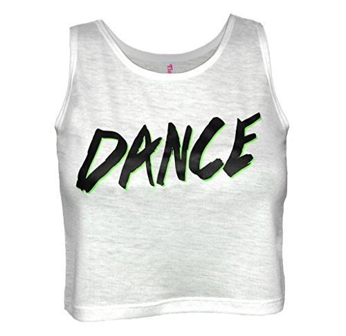 Top Crop Dance (Tia's Dance Wear Girl's White Crop Top White, Black, Green Medium)