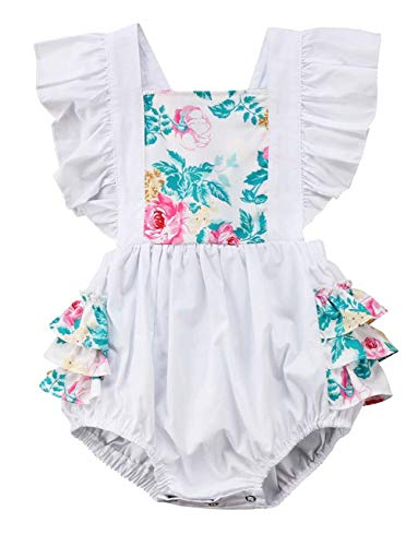 loral Ruffle Short Sleeve Romper One Piece Bodysuit Outfits Casual Active Jumpsuit (0-6 Months) White ()