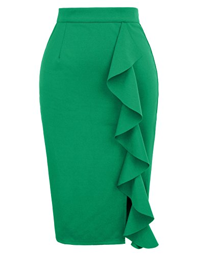 Women's Classic High Waist Slit Ruched Solid Pencil Skirt S Green