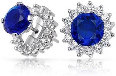 Bling Jewelry Simulated Sapphire CZ Studs and Removable Jackets 925 Silver