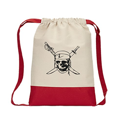 Skull Drawstring Backpack (Drawstring Backpack Color Canvas Skull And Sword Pirate Symbol Style In Print Red)