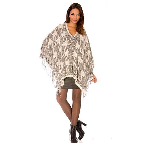 Miss Wear Line - Poncho blanc en maille à motifs et à franges