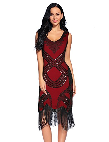 Women's 1920s Gatsby Dress V Neck Sequin Beads Fringed Cocktail Hem Flapper Dress (M, Red) -