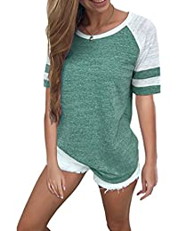 Women's Color Block Long Sleeve T Shirt Casual Round Neck Tunic Tops