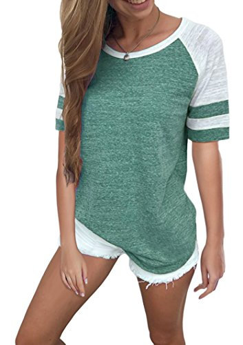 Yidarton Women's Color Block Short Sleeve T Shirt Casual Round Neck Tunic Tops(Green,M)