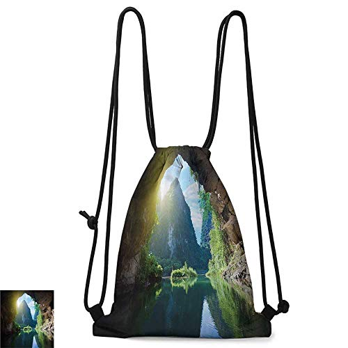 Portable backpack Natural Cave Decorations Mountain and Sky View from the Grotto Viatnemese Tam Coc Park Myst Nature Photo W14