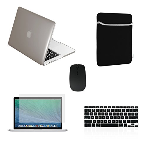 TOP CASE 5 in 1 Bundle - Crystal Hard Case + Sleeve Bag + Wireless Mouse + Silicone Keyboard Cover + Screen Protector Compatible with MacBook Pro 13