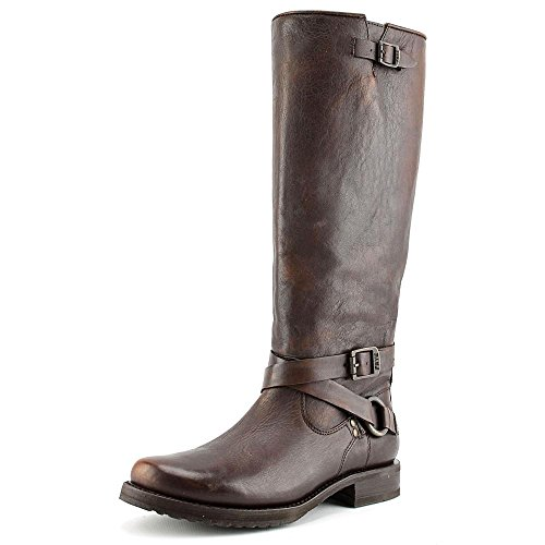 Frye Mujeres Veronica Criss Cross Bota Alta Maple Calf Shine Vintage
