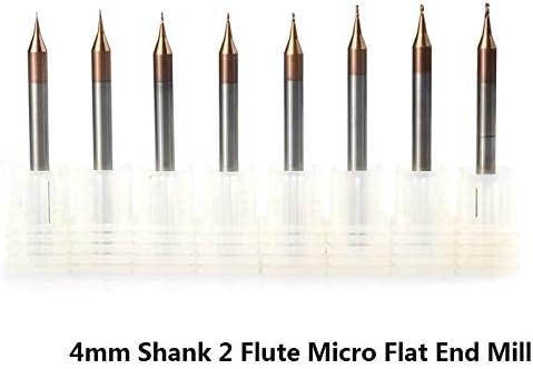 GENERICS LSB-Werkzeuge, 1 stück 0,2-0,9mm 2 Flöte Micro Flachschaftfräser 4mm Schaft Hartmetall CNC Fräser TICN Beschichtet Mini Fräser (Cutting Edge Length : D0.7xD4x50L)