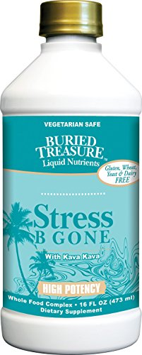 Buried Treasure Stress B Gone with Kava Kava Root, B Vitamins and Vitamin C for Stress Relief and Immune Support Natural Relaxation Tropical Flavors 16 oz