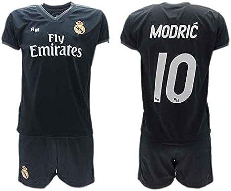 Conjunto 2ª Equipación Fútbol Luka Modric 10 Real Madrid C.F. Negra Away Temporada 2018-2019 Replica Oficial con Licencia - Caja de Regalo Camisa + Pantalón Corto (14 AÑOS): Amazon.es: Ropa y accesorios