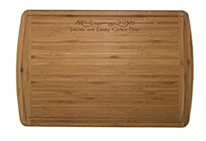"""Totally Bamboo Malibu Groove Cutting and Serving Board, """"Friends and Family Gather Here"""""""