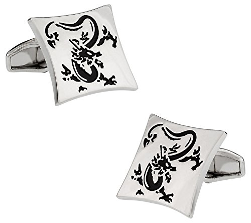 Symbol Chinese Cufflinks - Silver Chinese Standing Dragon Symbol Cufflinks Shirt Suit Wedding Cuff Links