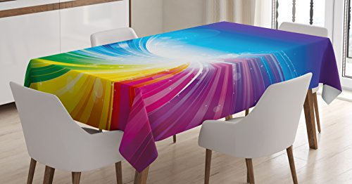 Ambesonne Colorful Tablecloth, Funky Pop Art Radiant Lines Design in Wave-Like Color Reflections Image, Rectangular Table Cover for Dining Room Kitchen Decor, 60