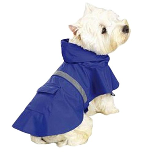 OCSOSO Pet Dog Slicker Raincoat Gear Brite Rain Jackets Dog Cat Hooded with Reflective Band (Blue, L Back: 20