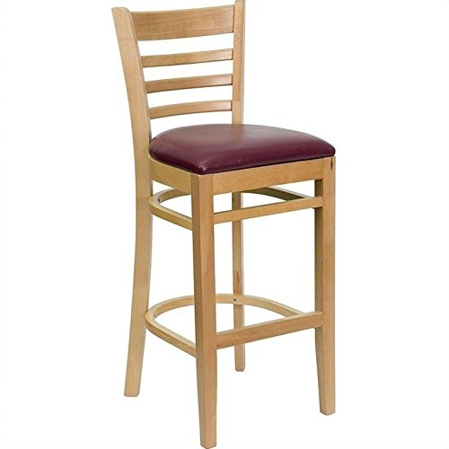 Flash Furniture HERCULES Series Ladder Back Natural Wood Restaurant Barstool - Burgundy Vinyl Seat - Ladder Back Wood Seat Stool
