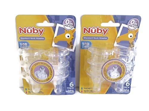 12 Nuby Non Drip Nipples - 2 Sets of 6 Packs (12 Nipples) ()