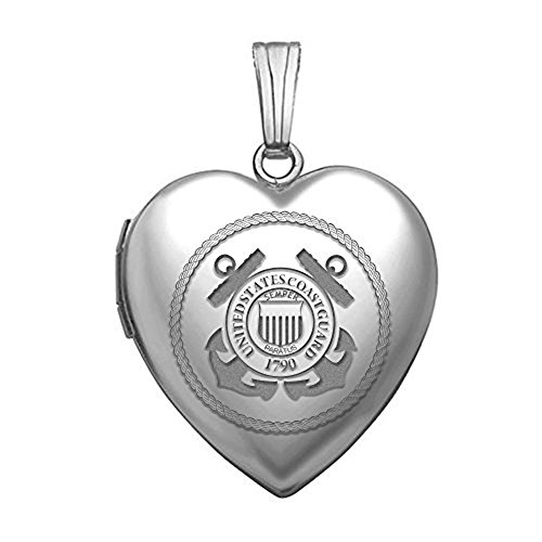 (PicturesOnGold.com Sterling Silver Coast Guard Heart Locket 3/4 Inch X 3/4 Inch)