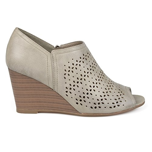 Brinley Co. Womens Faux Leather Peep-Toe Laser Cut Wedges Ivory, 7.5 Regular US ()
