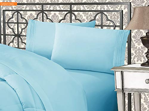 (Mikash New Soft Luxurious 1500 Thread Count Egyptian Three Line Embroidered Softest Premium Hotel Quality 4-Piece Bed Sheet Set, Wrinkle and Fade Resistant, King, Aqua Blue | Style 84597215)