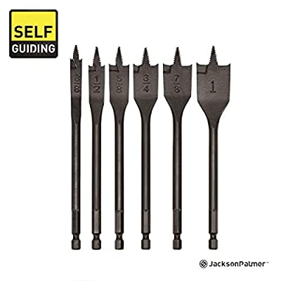 Self-Guiding 6 Piece Spade Bit Set, High Grade Carbon Steel, with Quick-Change Shank and 3200 Max RPM