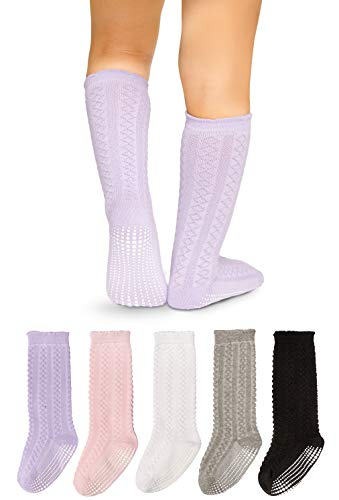 LA Active Baby Toddler Knee High Grip Socks - 5 Pairs - Non Slip/Skid Cable Knit (Variety, 12-36 Months) ()