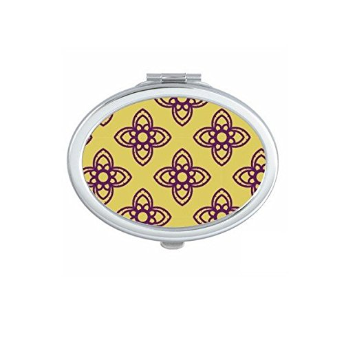 Kingdom of Thailand Thai Traditional Customs Golden Purple Crossing Weaving Decorative Pattern Satin Shrine Art Illustration Oval Compact Makeup Pocket Mirror Portable Cute Small Hand Mirrors by DIYthinker