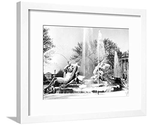 ArtEdge Logan Square, Frozen in Time, Philadelphia, Pennsylvania White Framed Matted Wall Art Print, 12x16 (Logan Square Print)
