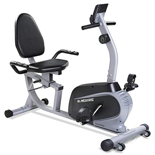 Maxkare Magnetic Recumbent Exercise Bike Indoor Stationary Bike with Adjustable Cushion Seat and Resistance,Pluse…