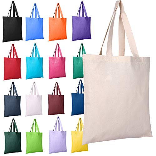 Color Canvas Tote Bags - BagzDepot 12 Pack Durable Cotton Canvas Reusable Blank 15inch x 16inch Standard Size Grocery Plain Tote Bags with 21 inches Supportive Fabric Handles No Bottom Gusset - Mix Assorted Colors
