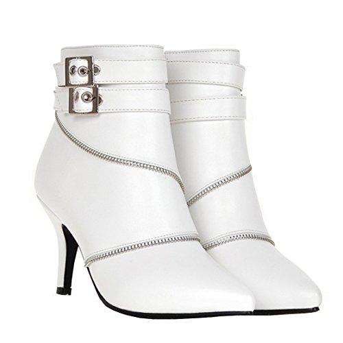 AIYOUMEI Damen Spitz Kleiner Absatz Stiletto Stiefeletten mit Reißverschluss  und Scnalle Klassischer Stiefel Weiß ...
