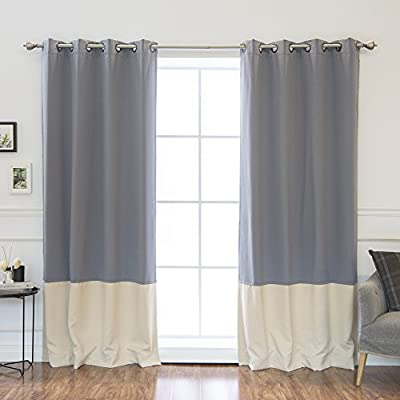 "Best Home Fashion Colorblock Thermal Insulated Blackout Curtains - Antique Bronze Grommet Top - Grey/Beige - 52"" W x 84"" L - (Set of 2 Panels) - Keep your home decor under wraps with these thermal insulated blackout curtain panel. Features innovative triple weaved fabric construction allowing for single layer, unlined thermal insulated blackout curtains. Independent laboratory test shows curtain blocks out 99.9% of light and insulate against heat and cold. - living-room-soft-furnishings, living-room, draperies-curtains-shades - 41d6Q3Ff8nL. SS400  -"