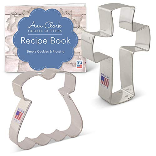 Ann Clark Cookie Cutters 2-Piece Religious Baptism/First Communion Cookie Cutter Set with Recipe Booklet, Dress and Holy Cross (Mini Cross Cookie Cutter)