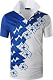 ZITY Mens Polo Shirt Cool Quick-Dry Sweat-Wicking Color Block Short Sleeve Sports Golf Tennis T-Shirt(Cwhite-M)