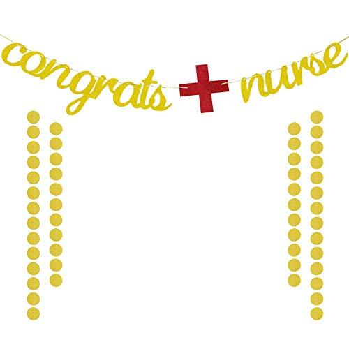 Congrats Nurse Banner Gold Glittery   Nurse Graduation Banner   Nurse Graduation Party Decorations   RN Graduation Decoration Supplies   Extra Gold Glittery Circle Dots Garland