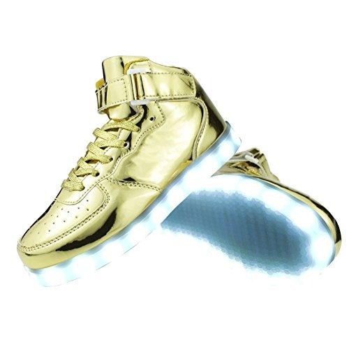 SENFI verbesserte LED-Licht Schuhe High Top Sneaker für Männer / Frauen Gold