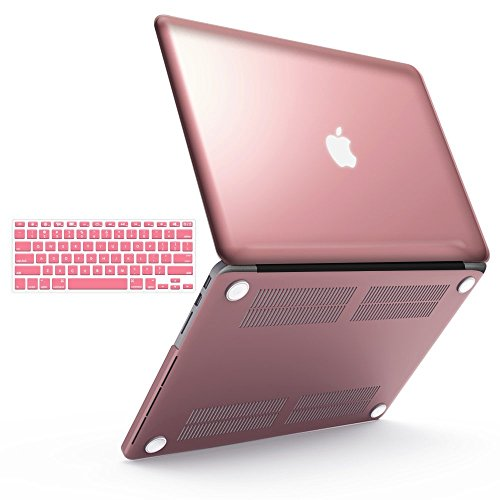 """iBenzer Basic Soft-Touch Series Plastic Hard Case & Keyboard Cover for Apple MacBook Pro 13-inch 13"""" with Retina Display A1425/1502 (Previous Generation) (Rose Gold)"""