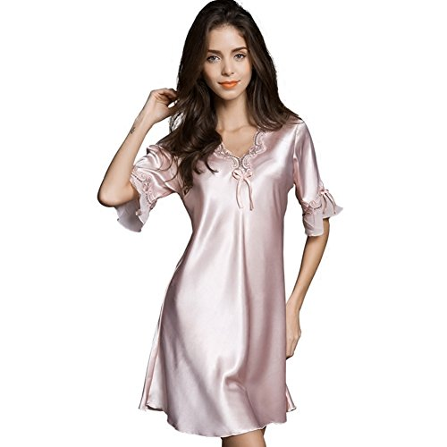 Ufatansy Uforme Women Sleepwear Sexy Lingerie V-Neck Nightgown Short Skirt Silk Lace Pajama Dress (M, Pink) (Dress Short Silk Skirt)