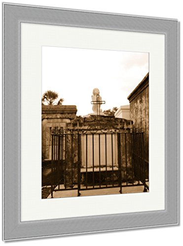 Ashley Framed Prints St Louis Catholic Cemetery New Orleans Louisiana USA, Wall Art Home Decoration, Sepia, 30x26 (frame size), Silver Frame, AG6544561 by Ashley Framed Prints