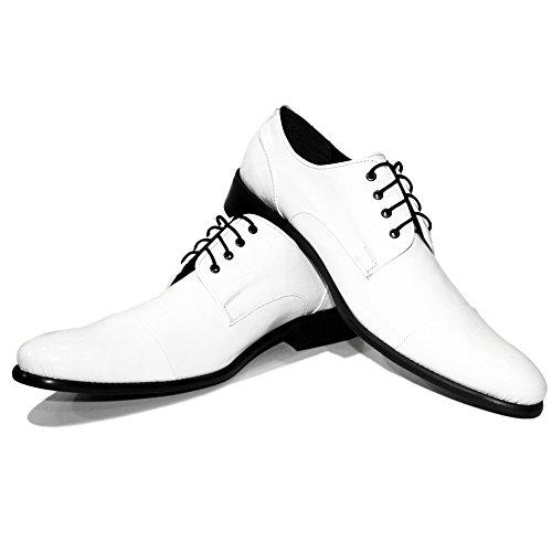 PeppeShoes Modello Baltico - Handgemachtes Italienisch Leder Herren Weiß Oxfords Abendschuhe Schnürhalbschuhe - Rindsleder Lackleder - Schnüren