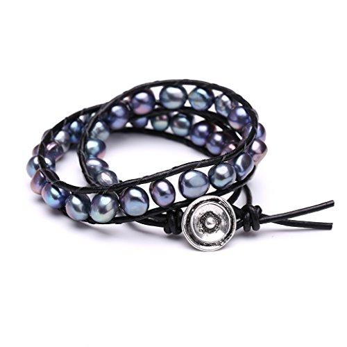 Aobei Freshwater Cultured Black Pearl Bracelets Multi Wraps Stackable Leather Jewelry- 2 Wraps Bracelet