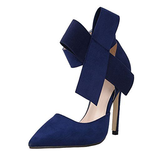 fereshte Womens Stylish Faux Suede Pointed-Toe Ankle Strap Sandal Dress Party Pump With Bow Blue